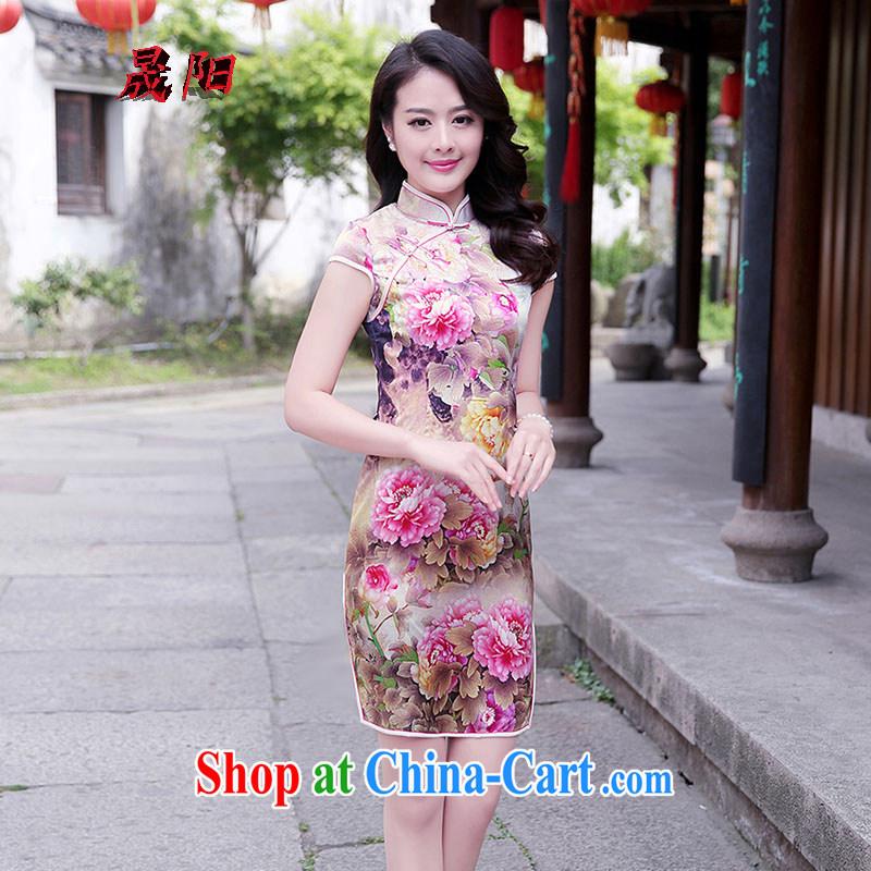 Sung Yang 2015 summer New Beauty video thin sauna silk Peony stamp improved cheongsam Silk Dresses pink Peony XXL