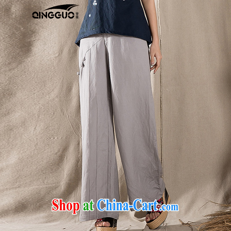 Green fruit 2015 retro China wind cotton the Chinese children, trouser press with original design arts, ethnic Wind Light Gray XL