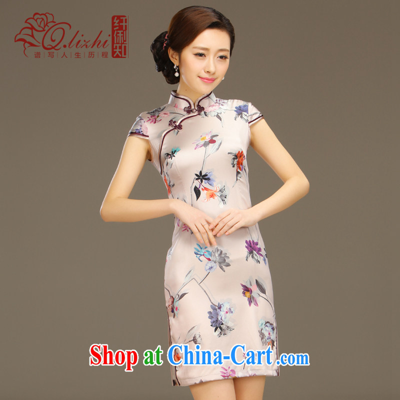 Slim li know overnight world Silk Cheongsam dress new summer retro dresses short daily improved dress beauty workshops QLZ Q 15 6044 world overnight XXL