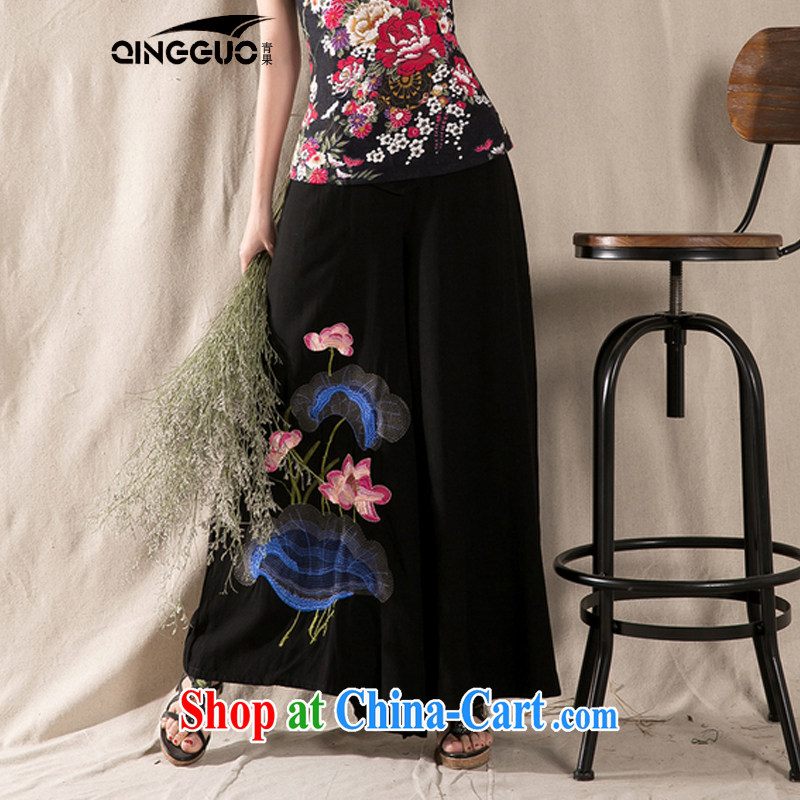 Green fruit 2015 spring and summer new ethnic wind cotton the embroidery wide leg trousers embroidered loose trousers children dress pants black are code