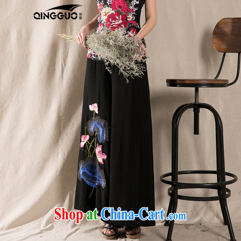 Green fruit 2015 spring and summer new ethnic wind cotton the embroidery wide leg trousers embroidered loose trousers children dress pants black, code, and fruit (QINGGUO), shopping on the Internet