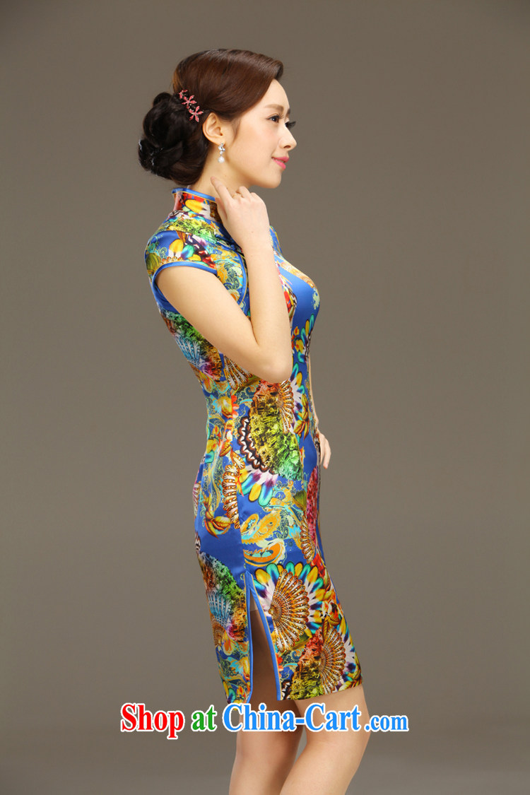 Slim li know egrets Silk Cheongsam dress new summer retro dresses short daily improved dress beauty workshops QLZ Q 15 6047 egrets XXL pictures, price, brand platters! Elections are good character, the national distribution, so why buy now enjoy more preferential! Health
