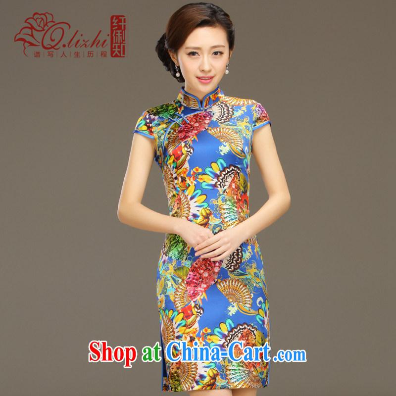 Slim li know egrets Silk Cheongsam dress new summer retro dresses short daily improved dress beauty workshops QLZ Q 15 6047 egrets XXL