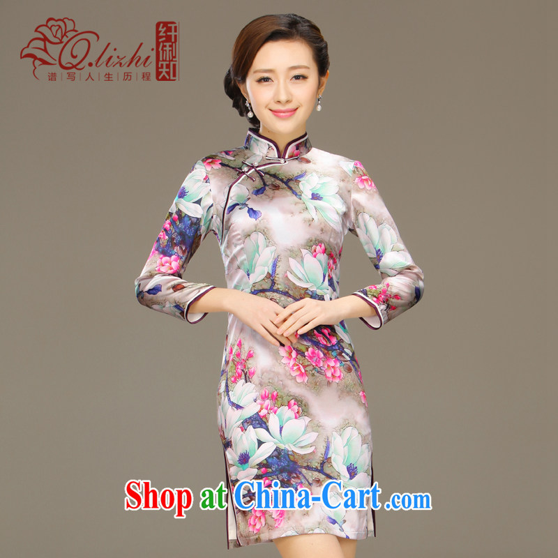 Slim li know dyeing and silk cheongsam dress new summer retro dresses short daily improved dress beauty workshops QLZ Q 15 6048 dye XXL.
