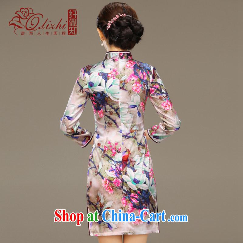 Slim li know dyeing and silk cheongsam dress new summer retro dresses short daily improved dress beauty workshops QLZ Q 15 6048 dye XXL love and Li (Q . LIZHI), online shopping