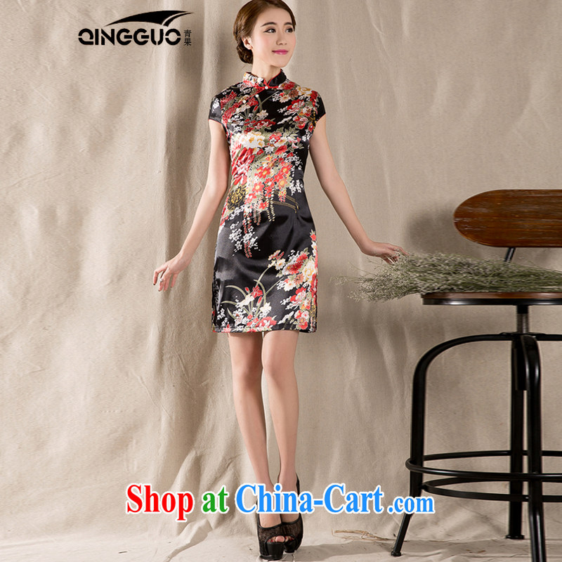 Green fruit 2015 new spring and summer short-sleeved Chinese qipao refined antique China wind women dress suit XXL