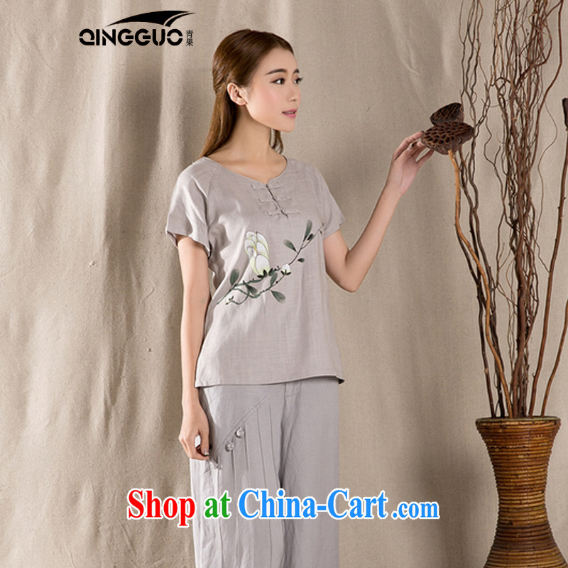 Green fruit 2015 summer new antique Chinese female improved fashion cheongsam shirt cotton Ms. Yau Ma Tei Tong with gray XXL
