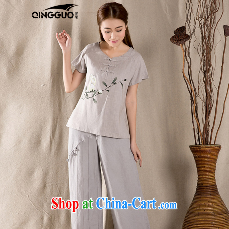 Green fruit 2015 summer new antique Chinese female improved stylish dresses T-shirt cotton Ms. Yau Ma Tei Tong with gray XXL, fruit (QINGGUO), online shopping