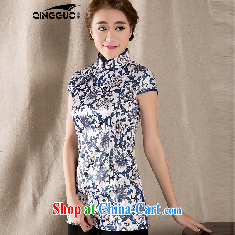 2015 spring and summer new Ethnic Wind Chinese improved cheongsam shirt cultivating cotton Ms. Yau Ma Tei Tong with fancy XXL