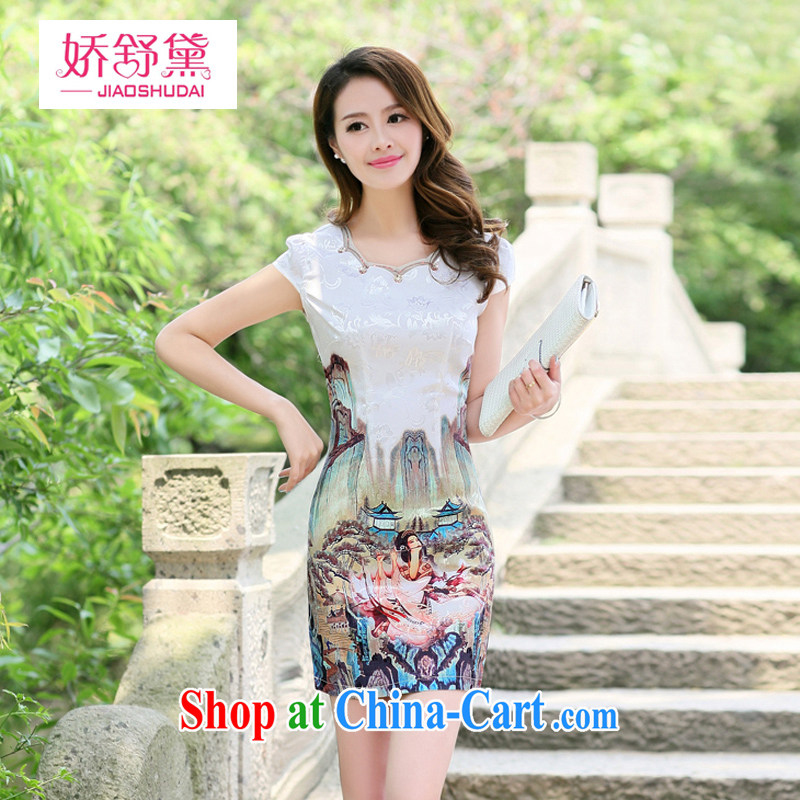 Air Shu Diane 2015 new spring and summer with daily improved cheongsam dress short Beauty Figure cheongsam dress female card its color XL