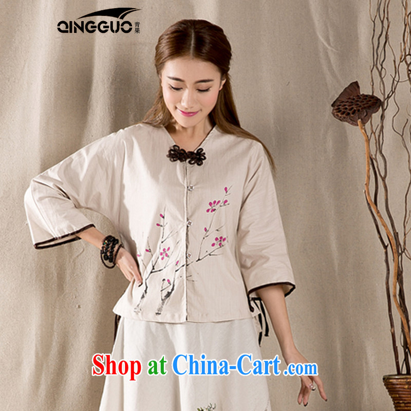 Green fruit 2015 Chinese Han-spring and summer, Ms. Yau Ma Tei units improved the withholding 7 sub-sleeved shirt retro Korea wind apricot S