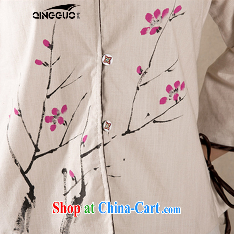 Green fruit 2015 Chinese Han-spring and summer cotton Ms. Yau Ma Tei is improved for 7 sub-sleeved shirt retro Korea wind apricot S, fruit (QINGGUO), and, on-line shopping