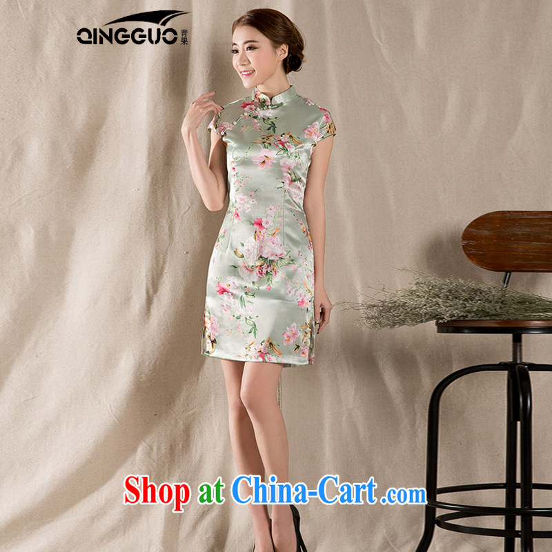 Green Green summer 2015 new tray snap stamp arts and cultural Ethnic Wind improved antique cheongsam dress China wind suit XXL