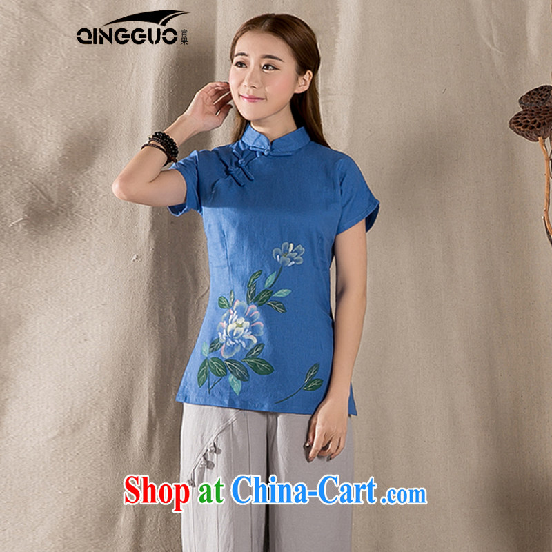 Green fruit 2015 summer new short Chinese qipao T-shirt retro, cotton for the female short-sleeve improved Tang blue XXL