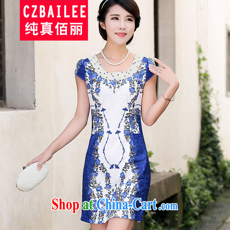 Jin Bai Lai dresses Ethnic Wind Tang Women's clothes fashion style short-sleeved beauty graphics thin summer dresses skirts improved 4 XL