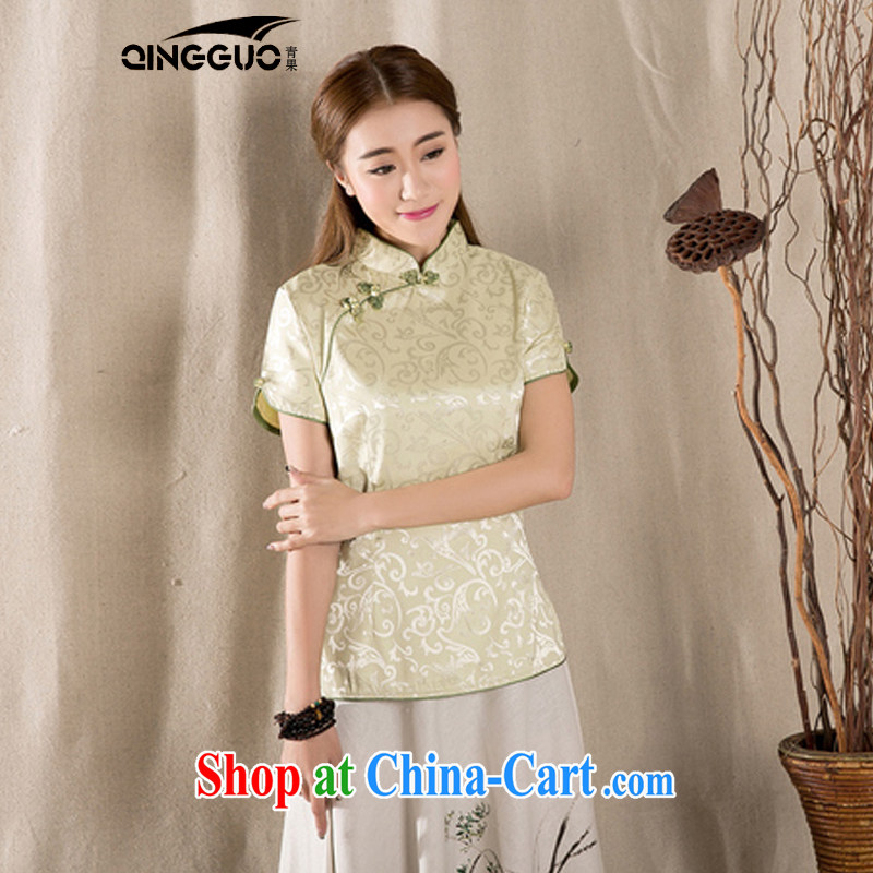 Green fruit 2015 summer New-snap embroidery female T-shirt China wind women antique Chinese green XXXL
