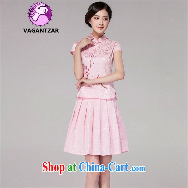 VAGANTZAR 2015 summer new female short-sleeved retro style daily outfit dress two piece girls Q 1125 pink XXL
