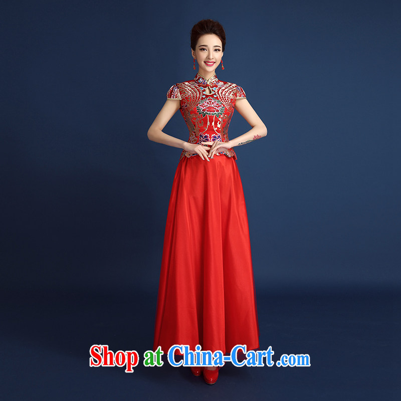 2015 new spring and summer red Chinese bride Xiao Fengxian wedding dresses long dresses toast serving short-sleeve two-piece long skirt of Phoenix Sau kimono red XXL