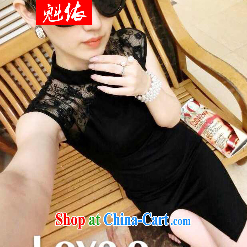 In accordance with Quebec 2015 new European and American-feminine 10 foot lace fluoroscopy the forklift truck cheongsam dress black are code
