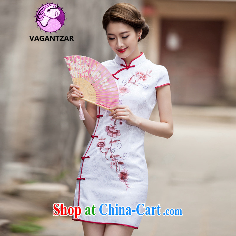 VAGANTZAR 2015 summer new women replacing Tang with retro style short, cultivating daily cheongsam dress female Q 1124 white S