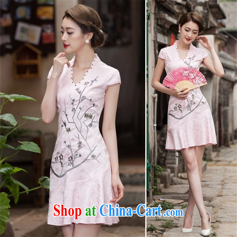 VAGANTZAR 2015 summer new female short-sleeved V collar embroidered Phillips nails Pearl crowsfoot with embroidery short cheongsam girls Q 1123 red XL