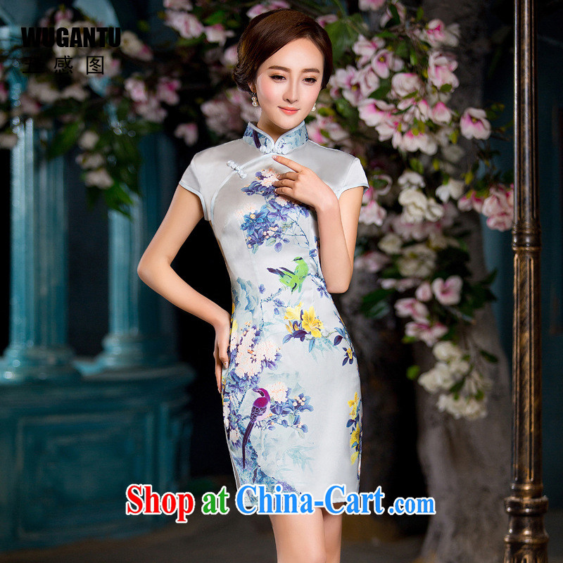 5 the sense of beauty and cheongsam dress 2015 China wind National wind dress flower pattern WGT 178 photo color XXL