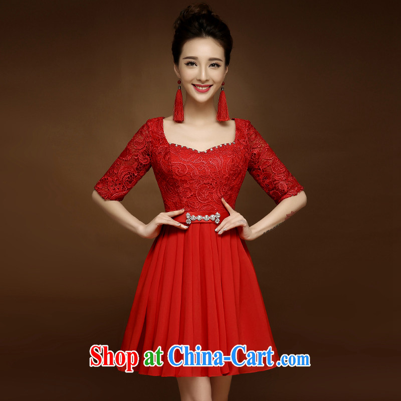 A good service is 2015 new lace cheongsam short spring and summer With marriages red toast serving Chinese Dress red 3XL