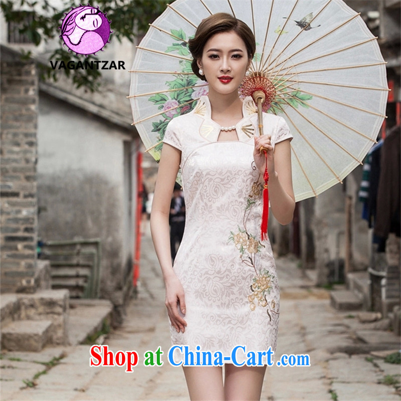 VAGANTZAR 2015 summer new female fashion Daily Beauty graphics thin short cheongsam dress dress girl Q 1122 apricot XL