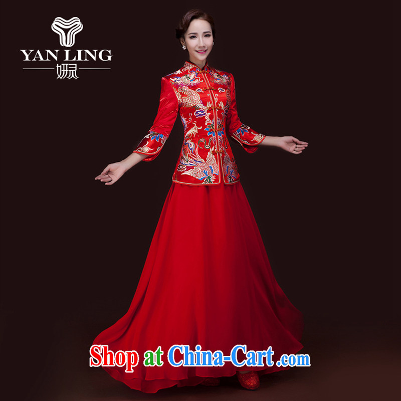 Her spirit winter 2015 new retro long-sleeved wedding dresses red long gown bridal toast Service Improvement XXL