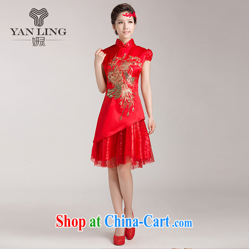 Bridal wedding dresses wedding dresses red short dress Chinese improved bows clothes summer retro dresses skirts L
