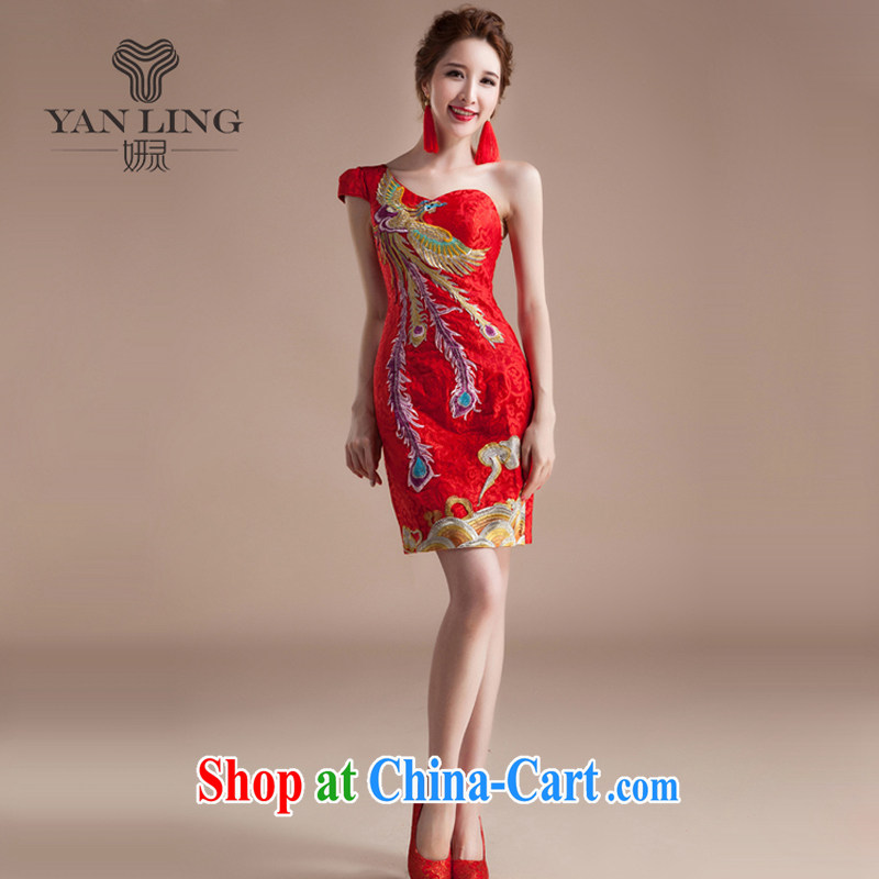 2015 cheongsam dress bridal toast clothing wedding dress retro improved short Chinese qipao dress S