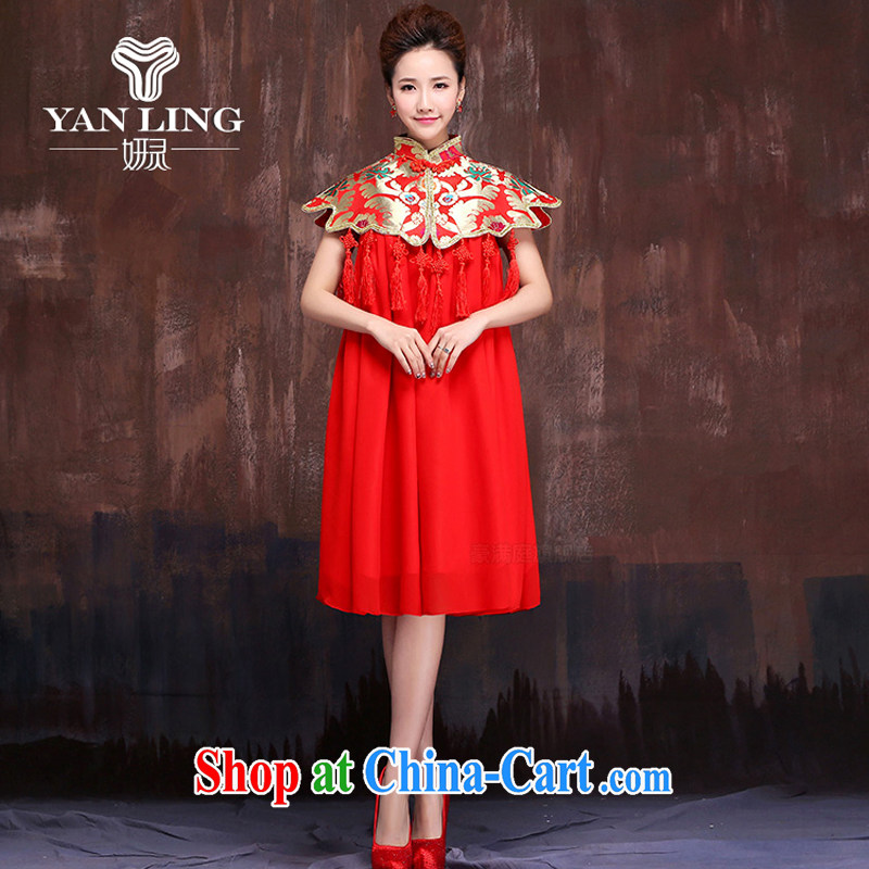 Summer macrame-su-marriages red short bows service embroidery dress large numbers of Phoenix XL