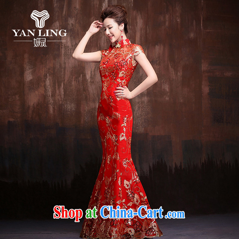 Bridal red retro improved cheongsam wedding service 2015 new lace crowsfoot cultivating short-sleeved long style cheongsam XL