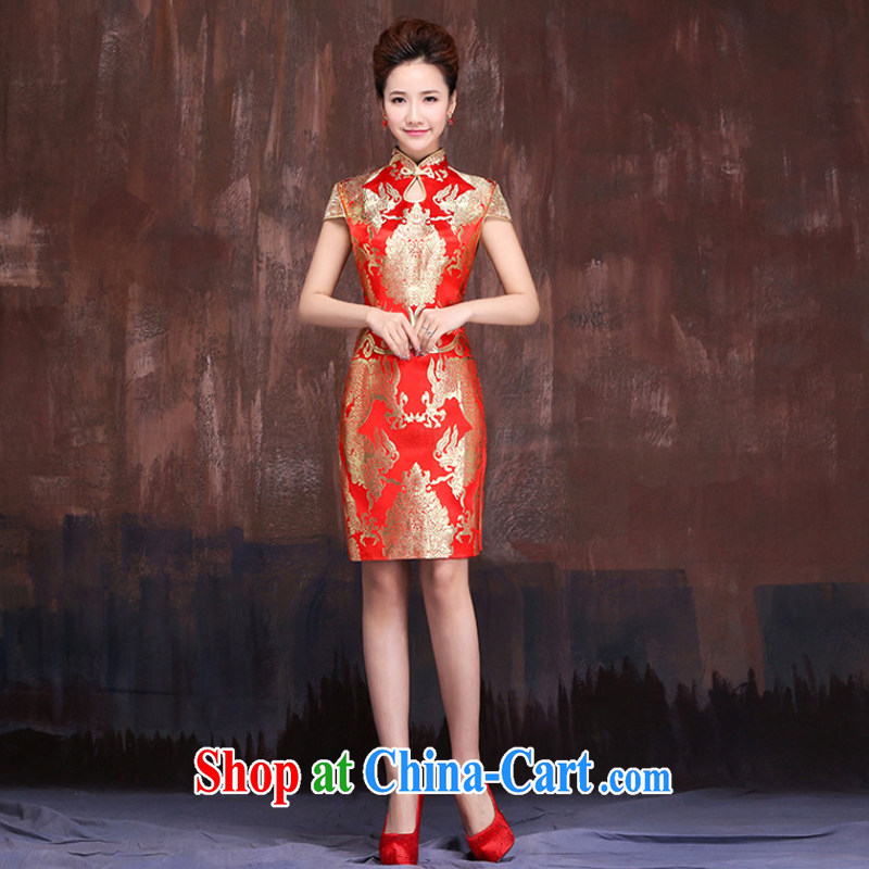 Her spirit marriages red short bows service 2015 new dragon robe improved Chinese qipao bridal replacing XXL
