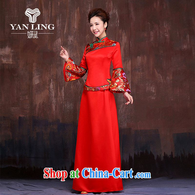 Her spirit marriages red retro long-sleeved cheongsam dress spring 2015 new show reel Service serving toast dress XXL