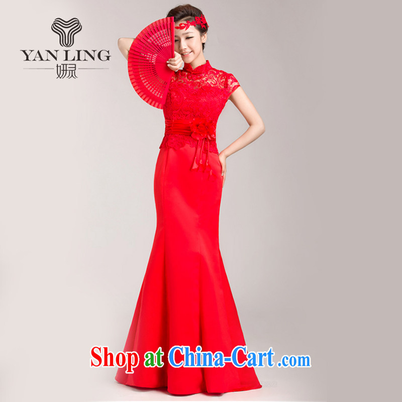 Marriages red crowsfoot toast service wedding dresses 2015 spring and summer evening dresses long bridal replacing XL