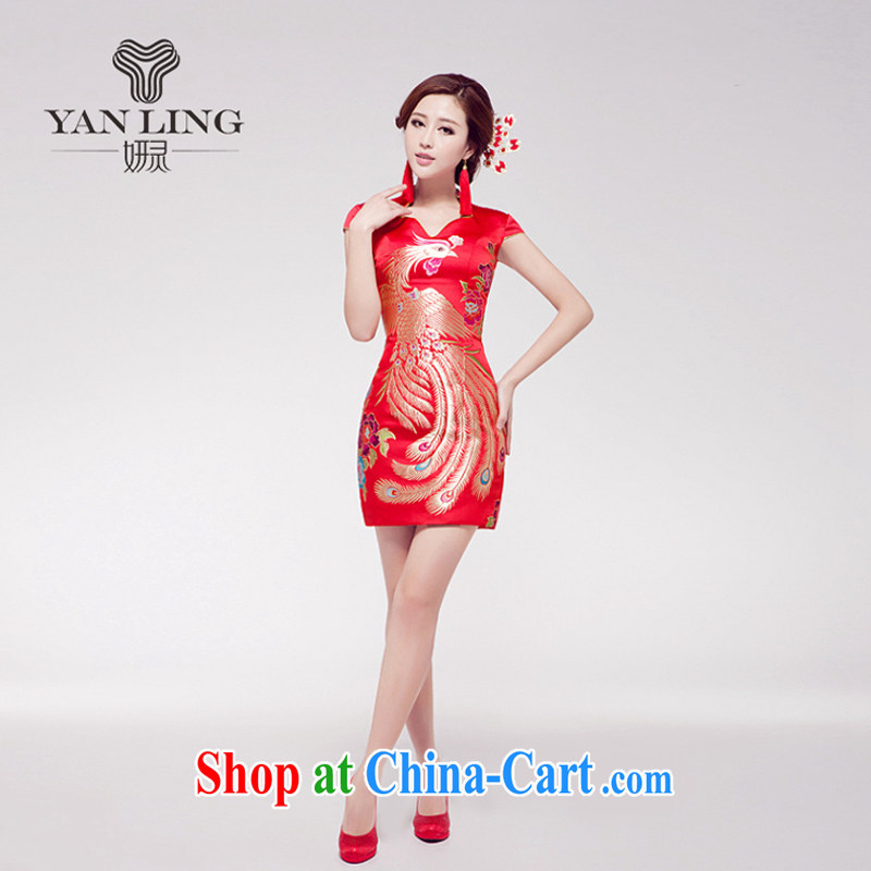 Marriages female dresses wedding dresses red short Chinese improved bows uniforms embroidery antique dresses XXL