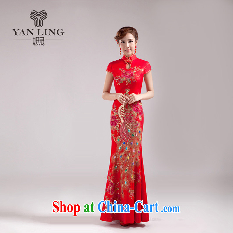 Her spirit 2015 new stylish bridal wedding dresses spring toast clothing dress women dress red long XXL