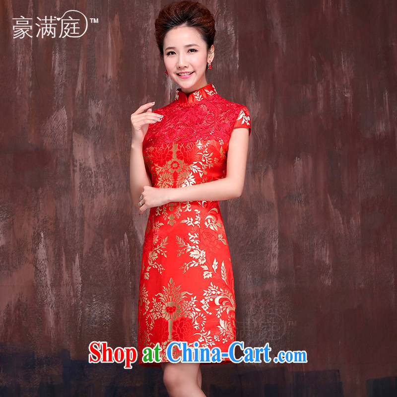 Marriages, short red dresses 2015 spring and summer new stylish improved retro bows dress uniform XXL