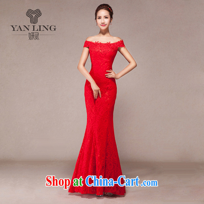 Bridal toast one field shoulder long wedding dress 2015 new spring Korean fashion red evening dress skirt XL