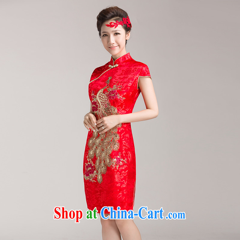 Bridal wedding dresses wedding dresses red short dress Chinese improved bows clothes summer retro style dresses M