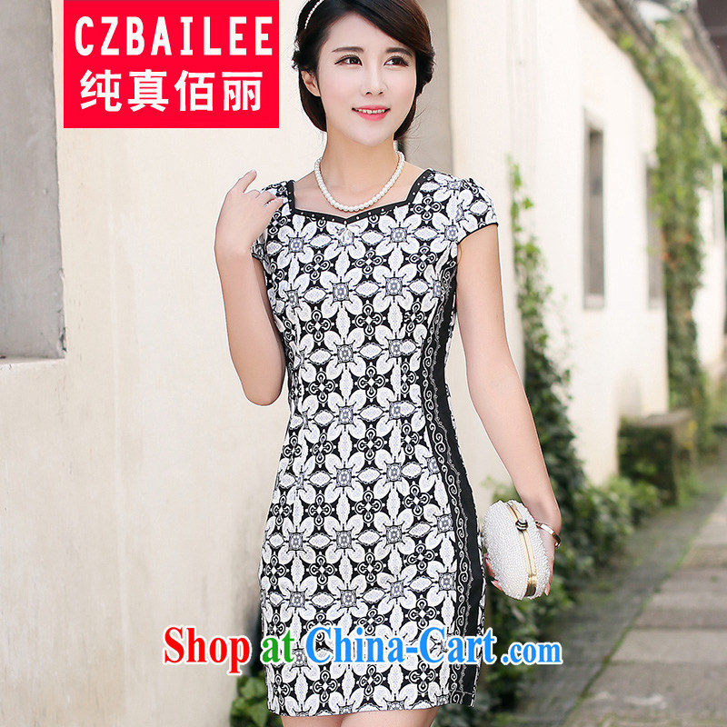 Jin Bai Lai-ha new improved cheongsam dress Chinese Dress skirt stylish short-sleeve dress with short, long, ladies dresses toast 4 XL
