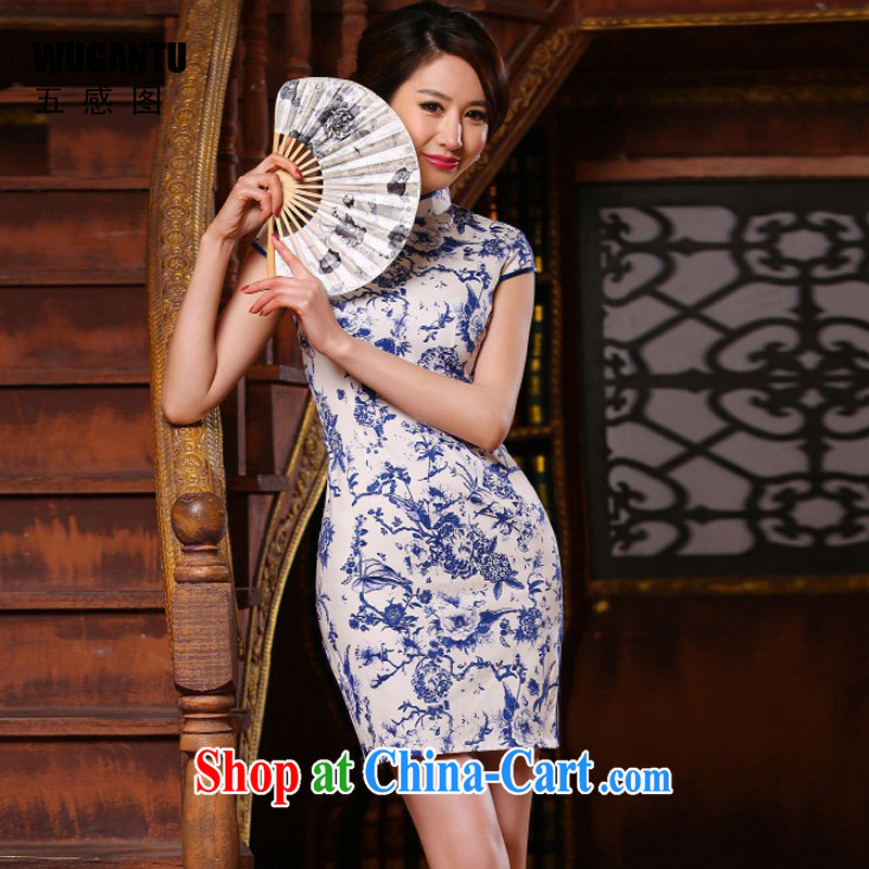 5 AND THE 2015 spring and summer new improved stylish beauty Art Nouveau porcelain was short cheongsam dress dress dress dress WGT 314 photo color XXL