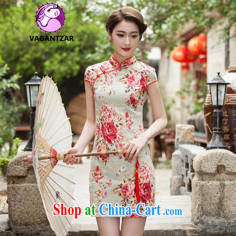 VAGANTZAR 2015 summer new female elegant beauty short daily fashion cheongsam dress female Q 1108 fancy XL