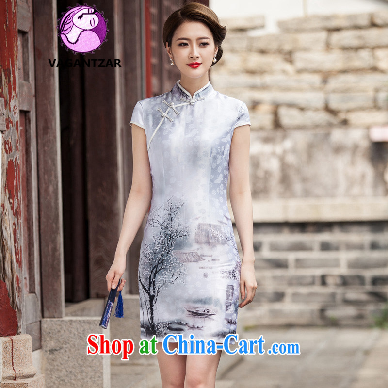 VAGANTZAR 2015 summer new female classical Chinese painting short-sleeved retro fashion China wind daily outfit girls Q 1107 painting XL
