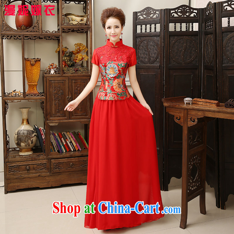 cheongsam dress 2015 spring and summer new bride toast clothing lace short sleeve snow woven skirt Chinese elegant red wedding dresses antique dresses Back Door Service red XXL