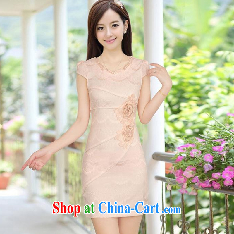 fragrance and beauty 2015 new genuine improved stylish embroidered clothes video waist dresses summer dresses dresses apricot XXL