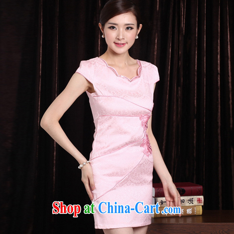 Clearly there is in accordance with Cabinet 2015 New and Improved stylish embroidered clothes video waist dresses summer dresses dresses pink XXL