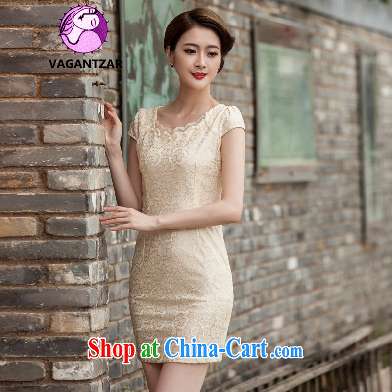 VAGANTZAR 2015 summer new women who are decorated in stylish lace Openwork hook flower cheongsam dress female Q 1106 yellow XL