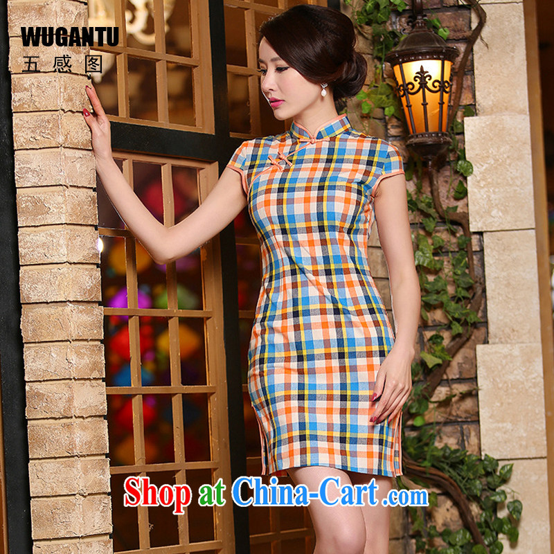 5 AND THE 2015 new summer new, improved daily fashion beauty of Korea Literature and Art Nouveau tartan cheongsam dress dress short, I told her 324 model features XXL